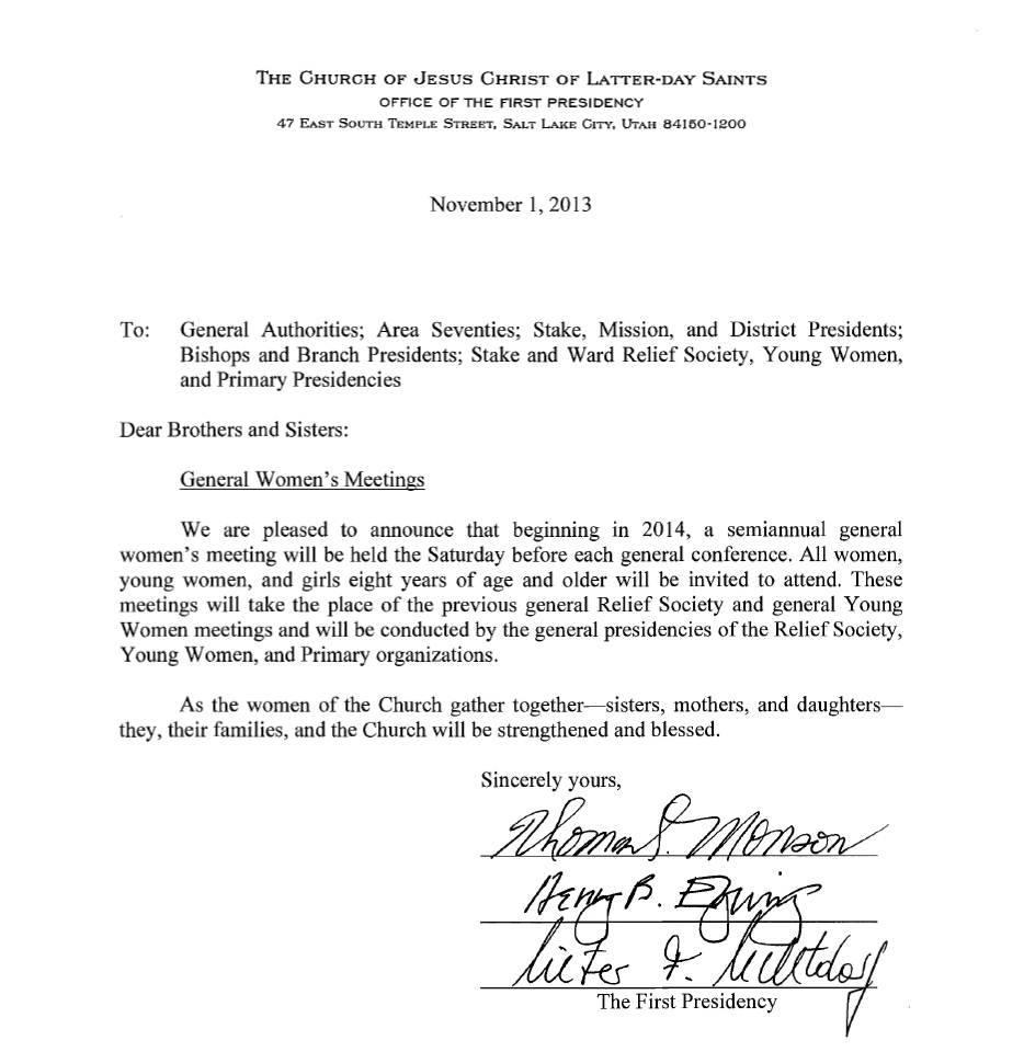 first presidency letter