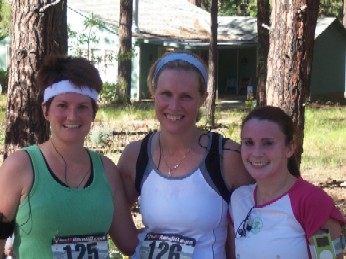 Kristen and friends at the end of the 10k